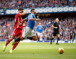 28.09.2018 Rangers v Aberdeen: Alfredo Morelos brought down by Zak Vyner for a penalty