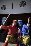 TOKYO, JAPAN - FEBRUARY 3: Men dressed in demons posed for a photo during the annual mamemaki or the bean-throwing ceremony in Zojoji Temple in Tokyo, Japan on Feb. 3, 2019. The ritual ceremony, observed at temples and shrines throughout the country, is believed by Japanese to drive out the demons of misfortune and it is considered as the beginning of spring. (Photo: Richard Atrero de Guzman/Aflo)