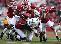 NWA Democrat-Gazette/J.T. WAMPLER Arkansas defense takes down Mississippi State's Jesse Jackson Saturday Nov. 18, 2017 at Donald W. Reynolds Razorback Stadium in Fayetteville. Arkansas lost 28-21.