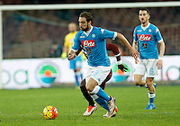 Napoli's Jorginho  controls the ball during the  italian serie a soccer match,between SSC Napoli and Torino      at  the San  Paolo   stadium in Naples  Italy , January 07, 2016