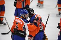 IJSHOCKEY: HEERENVEEN: Thialf, IIHF Ice Hockey U18 World Championship, 03-04-12, Nederland - Kroatie, Rick van Haren (#5), Goalie Jan-Willem Groenheijde (#25), ©foto Martin de Jong