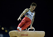 21st March 2018, Arena Birmingham, Birmingham, England; Gymnastics World Cup, day one, mens competition; Marcel Nguyen (GER) on the Pommel Horse during his competition routine