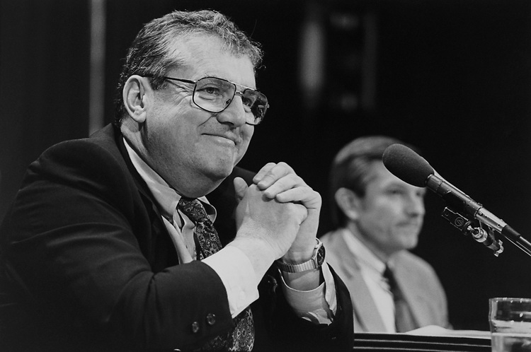 Chairman Robert T. Bennett, R-Ohio, with John Saxon testifies before Senate Ethics Commission on May 24, 1993. (Photo by Laura Patterson/CQ Roll Call via Getty Images)
