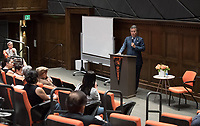 "Guest speaker Rep. Mark Takano (D-Riverside) addresses the lessons of the incarceration of Japanese-Americans during World War II in Occidental College's Choi Auditorium on Saturday, September 23 as part of Occidental's ""Never Again"" series.<br /> In ""Echoes From the Past: The Japanese Incarceration and Today's Executive Orders,"" Takano  discussed the relevance of the history of Japanese-American incarceration to today's political climate, including the Muslim ban, immigration and the recent decision to rescind DACA, as well as his personal experience. Takano's own parents and grandparents were incarcerated during WWII.<br /> (Photo by Marc Campos, Occidental College Photographer)"