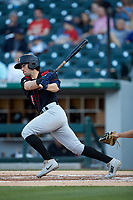 Drew Maggi (5) of the Rochester Red Wings follows through on his swing against the Charlotte Knights at BB&T BallPark on May 14, 2019 in Charlotte, North Carolina. The Knights defeated the Red Wings 13-7. (Brian Westerholt/Four Seam Images)
