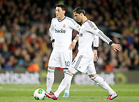 Real Madrid's Mesut Ozil (l) and Cristiano Ronaldo during Copa del Rey - King's Cup semifinal second match.February 26,2013. (ALTERPHOTOS/Acero) /Nortephoto