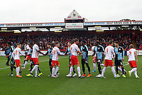 The players take to the pitch before the Sky Bet League 2 match between Stevenage and Wycombe Wanderers at the Lamex Stadium, Stevenage, England on 17 October 2015. Photo by PRiME Media Images.