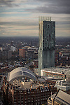 © Joel Goodman - 07973 332324 . 07/12/2013 . Beetham Tower , Gmex , Manchester Central , Midland Hotel . Cityscape view of Manchester . Photo credit : Joel Goodman