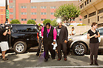 July 13, 2015. Winston Salem, North Carolina.<br />  Reverend William Barber, center, the president of the NC NAACP, leaves the federal courthouse on the opening day of the NC NAACP's court case against Gov. Pat McCrory.<br />  To rally support for the North Carolina NAACP's case against Gov. Pat McCrory (NC NAACP v. McCrory), a march was held in downtown Winston Salem on the opening day of the case in federal court. Thousands gathered to walk the streets of downtown and listen to speeches proclaiming the importance of defeating new requirements for voter registration,<br />  The NC NAACP contests that HB 589 (Voter ID requirements) violate Section 2 of the Voting Rights Act (42 U.S.C. 1973) and the Fourteenth and Fifteenth Amendments of the Constitution.