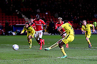 Lucas Akins scores Burton's opening goal from the penalty spot during Charlton Athletic vs Burton Albion, Sky Bet EFL League 1 Football at The Valley on 12th March 2019