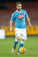 Napoli's Gonzalo Higuain controls the ball during the  italian serie a soccer match,between SSC Napoli and Sassuolo    at  the San  Paolo   stadium in Naples  Italy , January 17, 2016