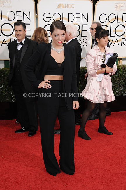 WWW.ACEPIXS.COM<br /> <br /> January 11 2015, LA<br /> <br /> Lorde arriving at the 72nd Annual Golden Globe Awards at The Beverly Hilton Hotel on January 11, 2015 in Beverly Hills, California<br /> <br /> By Line: Peter West/ACE Pictures<br /> <br /> <br /> ACE Pictures, Inc.<br /> tel: 646 769 0430<br /> Email: info@acepixs.com<br /> www.acepixs.com