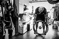 Team Mitchelton-Scott mechanics at work: prepping wheels<br /> <br /> Stage 20 (ITT): Saint-Pée-sur-Nivelle >  Espelette (31km)<br /> <br /> 105th Tour de France 2018<br /> ©kramon