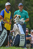 Rory McIlroy (NIR) and his caddie are all smiles on the 12th tee after a spectacular chip from the rocks on 11 during 4th round of the 100th PGA Championship at Bellerive Country Club, St. Louis, Missouri. 8/12/2018.<br /> Picture: Golffile   Ken Murray<br /> <br /> All photo usage must carry mandatory copyright credit (© Golffile   Ken Murray)