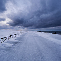 Snow covered road, Eggum, Vestvågøy, Lofoten islands, Norway