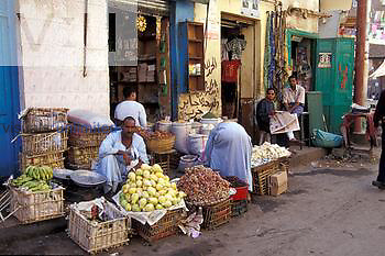 Produce shop in souk, Luxor, Egypt, a Third World market.