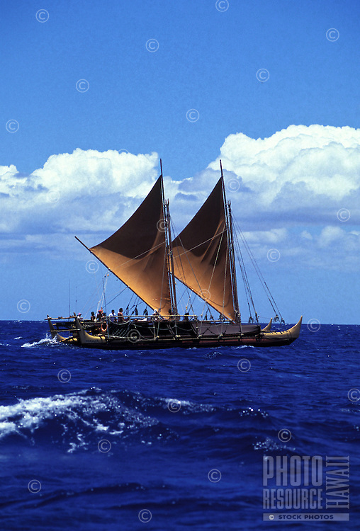 Original Hawaiian sailing canoe, the Hokulea, out to sea