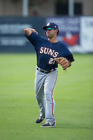 Austin Davidson (23) of the Hagerstown Suns warms up in the outfield prior to the game against the Kannapolis Intimidators at CMC-Northeast Stadium on August 16, 2015 in Kannapolis, North Carolina.  The Suns defeated the Intimidators 4-3 in game two of a double-header.  (Brian Westerholt/Four Seam Images)