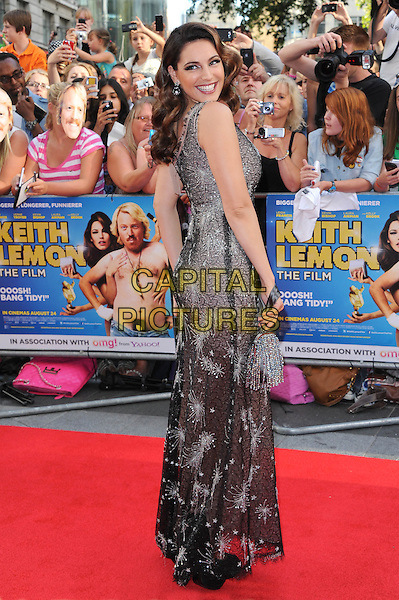 Kelly Brook .The World Premiere of 'Keith Lemon: The Film', Odeon West End, London, England..20th August 2012.full length grey gray black sparkly one shoulder dress side looking over shoulder lace .CAP/BEL.©Tom Belcher/Capital Pictures.