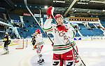 Stockholm 2014-09-27 Ishockey Hockeyallsvenskan AIK - Mora IK :  <br /> Moras Daniel Hermansson jublar och tackar Moras supportrar efter matchen<br /> (Foto: Kenta J&ouml;nsson) Nyckelord:  AIK Gnaget Hockeyallsvenskan Allsvenskan Hovet Johanneshovs Isstadion Mora MIK jubel gl&auml;dje lycka glad happy