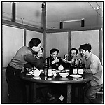 Photograph of Li (far left) with members of his work team dining at a small restaurant in Acheng, Heilongjiang province, during the Socialist Education Movement - an extravagance for which they were subsequently reprimanded (photographed with a self-timer). 25 April 1965