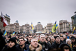 February 22, 2015. Kiev, Ukraine. Crowd attending the Decency March organized around Maidan Place by the authorities as a part of the commemorations of Euromaidan's victims killed by the police during protests in february 2014. Credits: Niels Ackermann / Rezo.ch