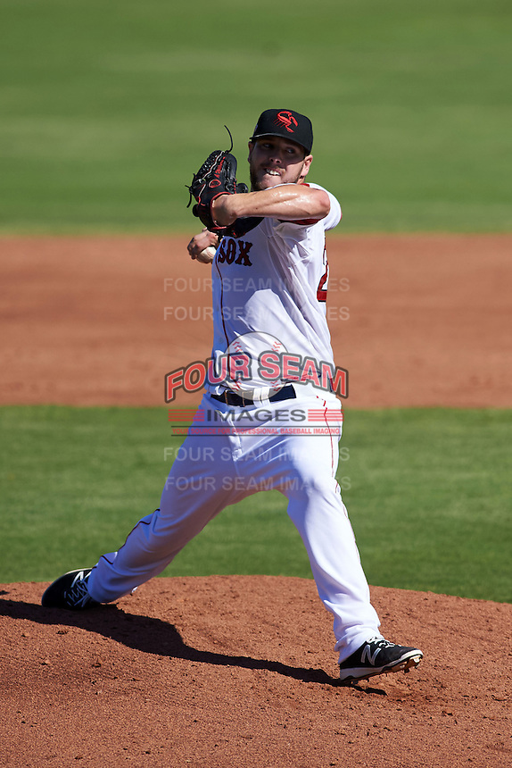 Scottsdale Scorpions pitcher Aaron Wilkerson (28) delivers a pitch during an Arizona Fall League game against the Surprise Saguaros on October 22, 2015 at Scottsdale Stadium in Scottsdale, Arizona.  Surprise defeated Scottsdale 7-6.  (Mike Janes/Four Seam Images)
