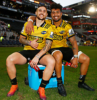 TJ Perenara with Ardie Savea of the Hurricanes during the Super Rugby match between Cell C Sharks and Hurricanes at Jonsson Kings Park Stadium in Durban, South Africa on Saturday, 1 June 2019. Photo by Steve Haag / stevehaagsports.com