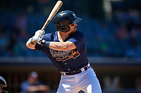 Mississippi Braves Ryan Casteel (26) at bat during a Southern League game against the Jacksonville Jumbo Shrimp on May 5, 2019 at Trustmark Park in Pearl, Mississippi.  Mississippi defeated Jacksonville 1-0 in ten innings.  (Mike Janes/Four Seam Images)