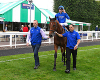 Winner of The Don Hewlett EBF Novice StakesLost in Time ridden by Hector Crouch and trained by Saeed bin Suroor is led into the Winner's enclosure during Evening Racing at Salisbury Racecourse on 3rd September 2019