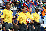 13 July 2015: Match Officials. From left: Assistant Referee Ricardo Morgan (JAM), Referee Joel Aguilar (SLV), Fourth Official Marlon Mejia (SLV), Assistant Referee Garnet Page (JAM). The Haiti Men's National Team played the Honduras Men's National Team at Sporting Park in Kansas City, Kansas in a 2015 CONCACAF Gold Cup Group A match. Haiti won the game 1-0.