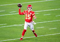 2nd February 2020, Miami Gardens, Florida, USA;  Kansas City Chiefs Quarterback Patrick Mahomes (15) throws the ball during the NFL Super Bowl LIV  game between the Kansas City Chiefs and the San Francisco 49ers at the Hard Rock Stadium in Miami Gardens