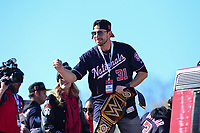 Washington, DC - November 2, 2019: Washington Nationals player Max Scherzer engages with fans during a parade for the Washington Nationals in Washington, D.C. November 2, 2019 after the team won the World Series Championship against the Houston Astros.   (Photo by Don Baxter/Media Images International)
