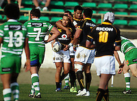 Wellington winger Julian Savea congratulates Buxton Popoali'i on his try during the Air NZ Cup preseason match between Manawatu Turbos and Wellington Lions at FMG Stadium, Palmerston North, New Zealand on Friday, 17 July 2009. Photo: Dave Lintott / lintottphoto.co.nz