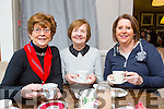 Enjoying a cuppa at the Chernobyl Children coffee morning in the Killarney Golf and fishing club on Thursday morning were Margaret O'Donoghue, Bertie O'Sullivan, Ailish Mulcahy