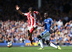 Everton's Idrissa Gana Gueye tussles with Stoke's Bojan during the premier league match at Goodison Park, Liverpool. Picture date 12th August 2017. Picture credit should read: David Klein/Sportimage
