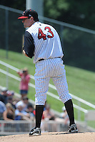 Kannapolis Intimidators Paul Burnside #43 prepares  to deliver a pitch during a game against the Hagerstown Suns at Fieldcrest Cannon Stadium in Kannapolis,  North Carolina;  May 30, 2011.  The Intimidators won the game 3-0.  Photo By Tony Farlow/Four Seam Images