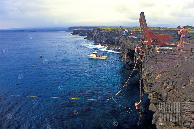 The South Point ( Ka Lae ) of the Big Island of Hawaii in the south Kona District is a place where adventurous thrill seekers can take a diving plunge from the high coastal cliffs into sparkling clear blue water.