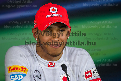 McLaren Formula One driver Lewis Hamilton of Great Britain talks during a press conference after the qualifier of the Hungarian F1 Grand Prix in Mogyorod (about 20km north-east from Budapest), Hungary. 28. July 2012. ATTILA VOLGYI