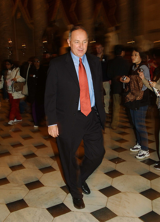 11/20/04.INTELLIGENCE REFORM CONFERENCE NEGOTIATIONS--House Select Intelligence Chairman Peter Hoekstra, R-Mich., walks through Statuary Hall back to the offices of House Speaker J. Dennis Hastert, R-Ill., where days of negotiation between Senate and House conferees has gone on, and as staff from both sides began to confrim that  conferees have struck a deal that would create a new system for managing the nation's intelligence community. A vote in both chambers is expected later today..CONGRESSIONAL QUARTERLY PHOTO BY SCOTT J. FERRELL
