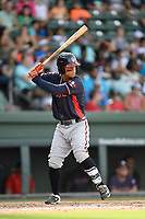 Designated hitter Leudys Baez (9) of the Rome Braves bats in a game against the Greenville Drive on Sunday, August 13, 2017, at Fluor Field at the West End in Greenville, South Carolina. Greenville won, 2-1. (Tom Priddy/Four Seam Images)