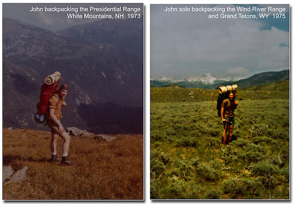 A four week, solo backpack on the Appalachian Trail (left). Ending a five week, solo backpack in the Wind River and Grand Teton Ranges, WY.