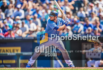 25 August 2013: Kansas City Royals third baseman Mike Moustakas in action against the Washington Nationals at Kauffman Stadium in Kansas City, MO. The Royals defeated the Nationals 6-4, to take the final game of their 3-game inter-league series. Mandatory Credit: Ed Wolfstein Photo *** RAW (NEF) Image File Available ***