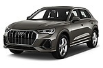 2019 Audi Q3 S-line 5 Door SUV Angular Front stock photos of front three quarter view