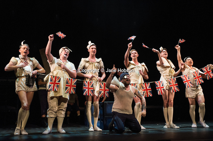 London, UK. 14.02.2014. Regan de Wynter Ltd, in association with Hilary A Williams present Gilbert and Sullivan's HMS PINAFORE, at the Hackney Empire from Friday 14th to Sunday 23rd February, prior to an 8 week UK tour. Picture shows: Aidan Crowley (Dick Deadeye - centre), Richard Russell Edwards (Hebe), Alex Weatherhill (Buttercup), Ben Irish (Josephine), Will Keith (ensemble), Dale Page (ensemble) and Benjamin Wong (ensemble). Photograph © Jane Hobson.