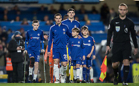 Cesar Azpilicueta of Chelsea leads his team onto the pitch for his 250th game during the Premier League match between Chelsea and West Bromwich Albion at Stamford Bridge, London, England on 12 February 2018. Photo by Andy Rowland.