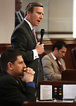Nevada Sen. Greg Brower, R-Reno, speaks on the Senate floor Tuesday, May 10, 2011, at the Legislature in Carson City, Nev. Sens. Mark Manendo, left, and Ruben Kihuen, both D-Las Vegas, are also seen..Photo by Cathleen Allison