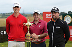 2014 Ryder Cup Captain Paul Mcginley poses with the Ryder Cup and fellow players (L - Espen Kofstad and R - John Parry)<br /> <br /> Golf - Day 1 - ISPS Handa Wales Open 2013 - Twenty Ten Course- Thursday 29th August 2013 - Celtic Manor Resort  - Newport<br /> <br /> © www.sportingwales.com- PLEASE CREDIT IAN COOK