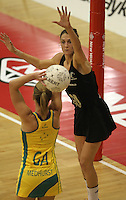 09.06.2011 Silver Ferns Anna Scarlett in action during the netball match between the Silver Ferns and Australia held at Arena Manuwau in Palmerston North. Mandatory Photo Credit ©Michael Bradley.