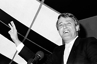 September 1st 1984  File Photo - Brian Mulroney, leader of the <br /> Conservative Party of Canada<br />  attend a supporters rally in Montreal few days before winnning the September 4, 1984 Federal election.